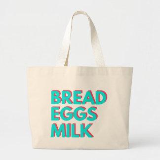 Pan, huevos, leche bolsa de tela grande