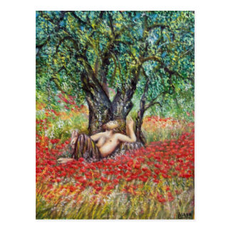PAN OLIVE TREE AND POPPIES POSTCARD