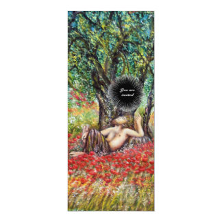 PAN, OLIVE TREE AND POPPY FIELDS,black Card