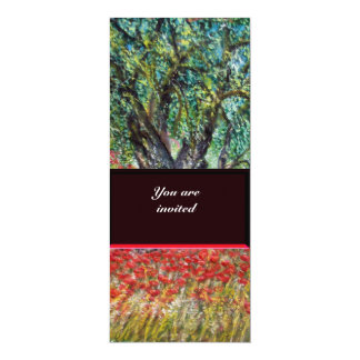 PAN, OLIVE TREE AND POPPY FIELDS,blue Card