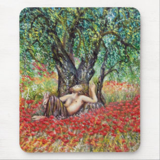 PAN, OLIVE TREE AND POPPY FIELDS MOUSE PAD