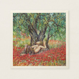 PAN, OLIVE TREE AND POPPY FIELDS NAPKIN