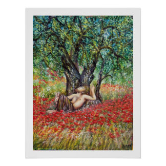 PAN, OLIVE TREE AND POPPY FIELDS POSTER