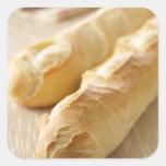 Pan, palillo francés calcomanía cuadrada