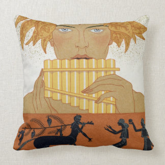 Pan Piper, illustration from 'Les Mythes' by Paul Throw Pillow