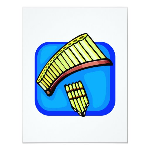 Pan Pipes With Blue background pan flute 4.25x5.5 Paper Invitation Card