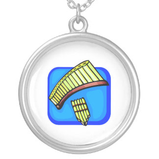 Pan Pipes With Blue background pan flute Personalized Necklace
