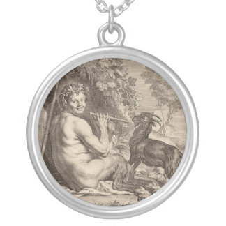 Pan playing floods round pendant necklace