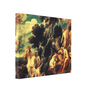 Pan punished by the Nymphs by Jacob Jordaens Canvas Print