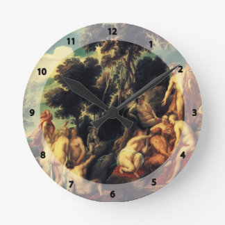 Pan punished by the Nymphs by Jacob Jordaens Round Wall Clock
