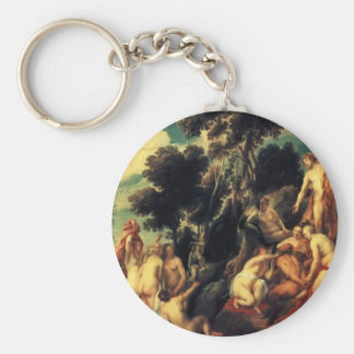 Pan punished by the Nymphs by Jacob Jordaens Keychains