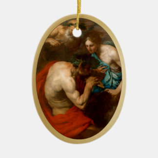 Pan - The Music Lesson - With Gold Frame - 2 Ceramic Ornament