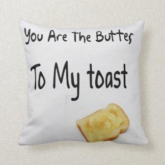 Pan tostado, palabras del amor cojín decorativo
