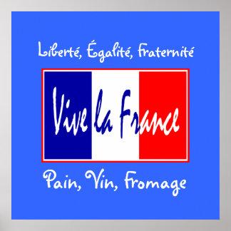 Pan, vino, cocina francesa del esencial del queso póster