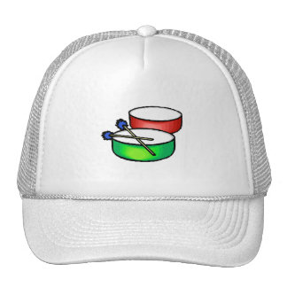 pan white head drums with mallets music percussion trucker hat