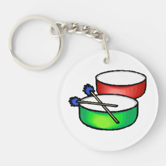 pan white head drums with mallets music percussion keychain