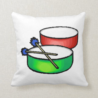 pan white head drums with mallets music percussion throw pillow