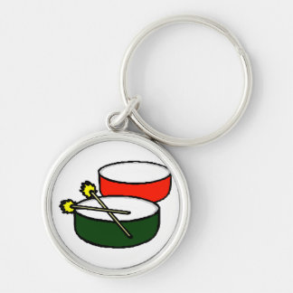 pan white head red green drums with mallets.png keychain