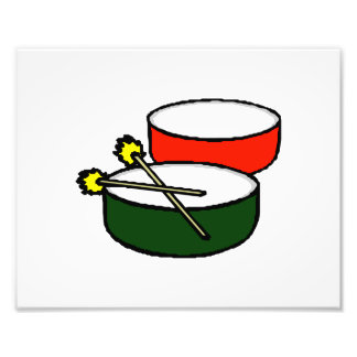 pan white head red green drums with mallets.png photo