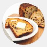 Pan y canela de pasa pegatina redonda