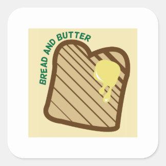 Pan y mantequilla pegatina cuadrada