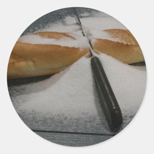 Pan y sal pegatina redonda