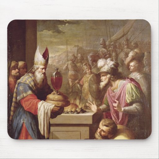 Pan y vino de ofrecimiento de Melchizedek Mouse Pads