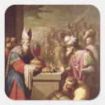 Pan y vino de ofrecimiento de Melchizedek Pegatina Cuadrada