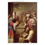 Pan y vino de ofrecimiento de Melchizedek Tarjeta De Felicitación