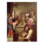 Pan y vino de ofrecimiento de Melchizedek Tarjetas Postales