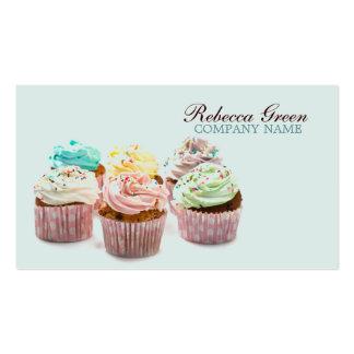 panadería colorida femenina de las magdalenas tarjetas de visita