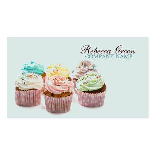 panadería colorida femenina de las magdalenas plantilla de tarjeta de visita