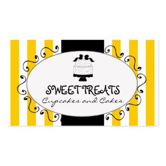 Panadería de la torta de la magdalena de las rayas tarjetas de visita