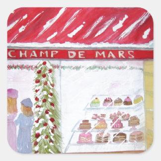 Panadería del navidad en París Calcomanías Cuadradass Personalizadas