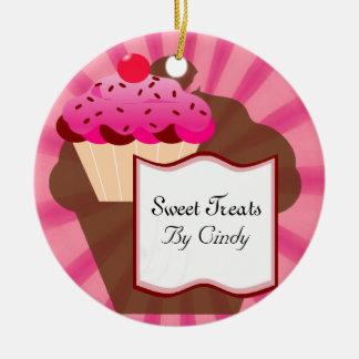 Panadería dulce de la magdalena adorno navideño redondo de cerámica