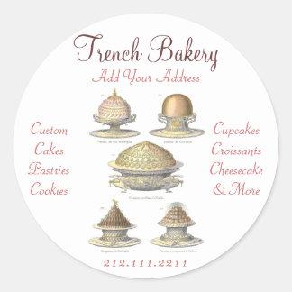Panadería francesa del vintage elegante - pegatina redonda