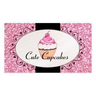 Panadería linda de la magdalena del brillo rosado tarjetas de visita
