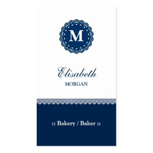 Panadería/panadero - monograma azul elegante del c plantilla de tarjeta de negocio