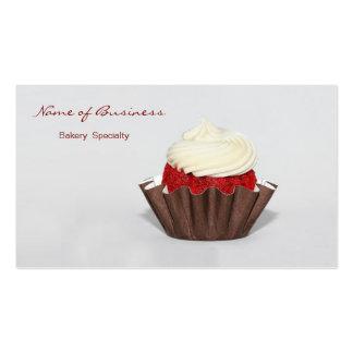 Panadería roja de la magdalena del terciopelo plantilla de tarjeta personal