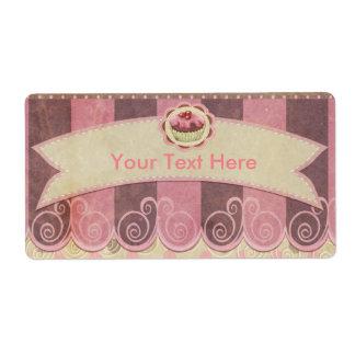 Panadería rosada de color topo de la magdalena etiqueta de envío
