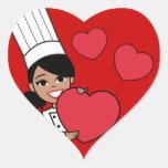 Panadero afroamericano del chica colcomanias corazon