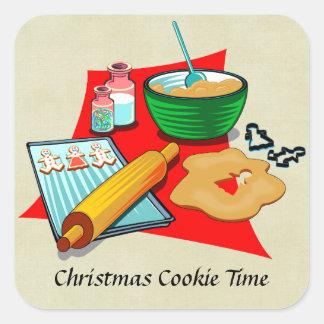 Panadero de los ingredientes de las galletas del pegatina cuadrada