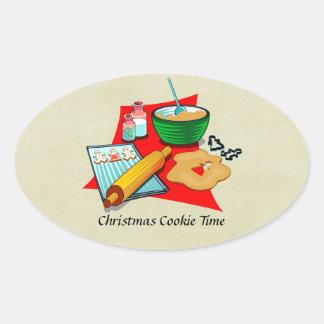 Panadero de los ingredientes de las galletas del pegatina ovalada