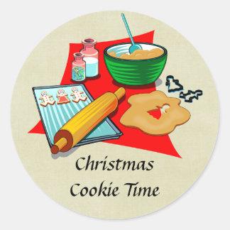 Panadero de los ingredientes de las galletas del pegatina redonda