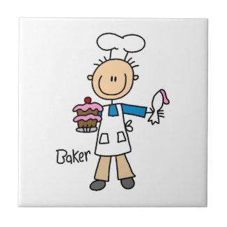 Panadero de sexo masculino azulejo cuadrado pequeño