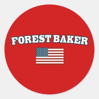 Panadero del bosque para América Pegatina Redonda