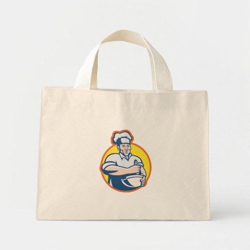 Panadero del cocinero del cocinero con el bol gran bolsa lienzo