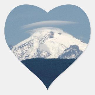 Panadero del Mt con la nube Pegatina En Forma De Corazón