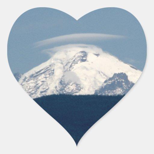 Panadero del Mt con la nube Calcomanía De Corazón Personalizadas
