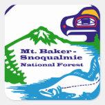 Panadero del Mt - logotipo del bosque del Estado Calcomanias Cuadradas